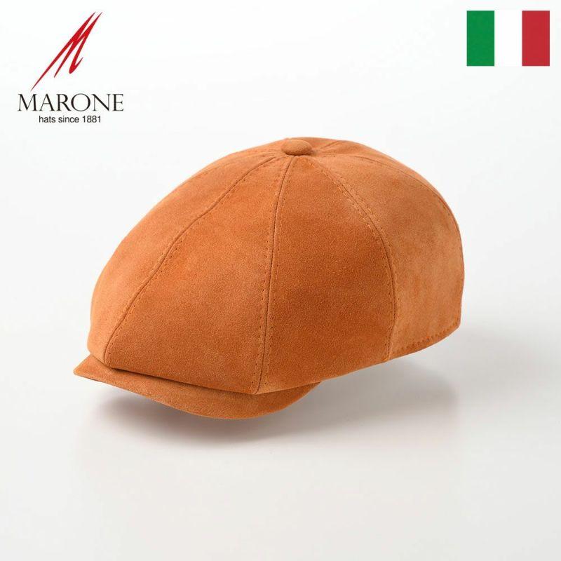 帽子 キャスケット MARONE(マローネ) Galles Honduras Goatskin(ウェールズ ホンジュラス ゴートスキン)BN122オレンジ