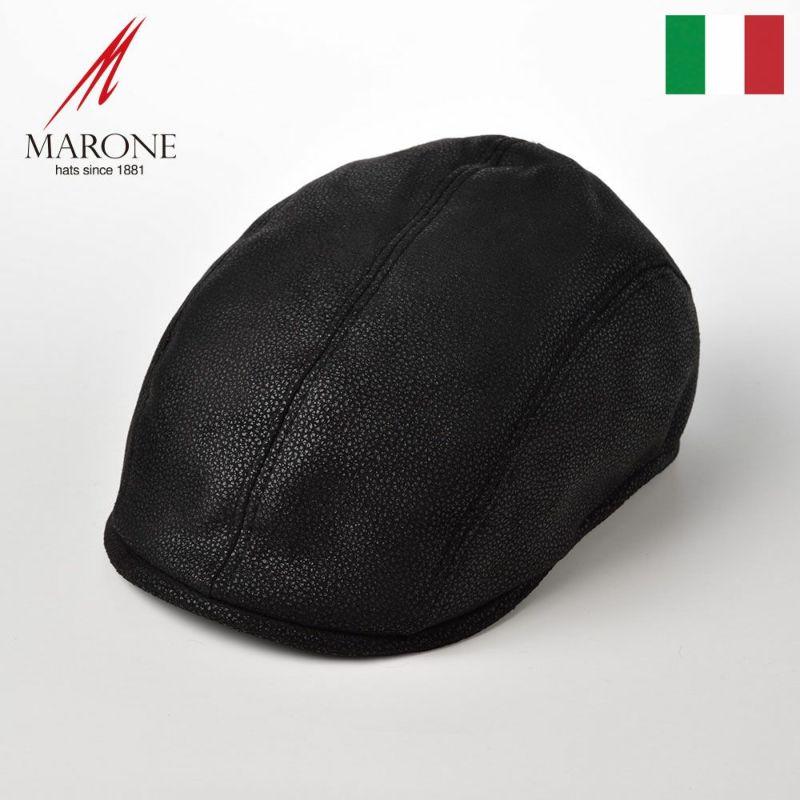帽子 ハンチング MARONE(マローネ) Four Panel Berretto(フォーパネルベレット)B202ブラック