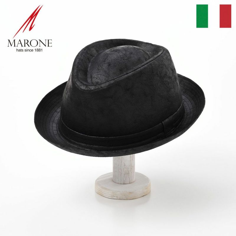 帽子 ソフトハット MARONE(マローネ) Trilby Vintage(トリルビー ヴィンテージ)UT163ブラック