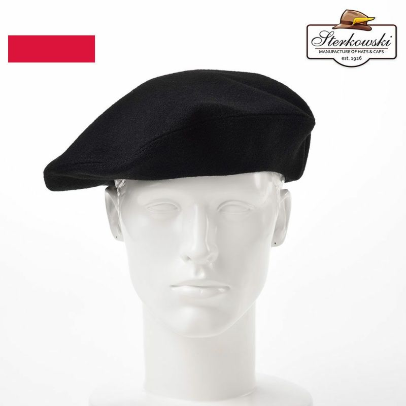 帽子 ベレー帽 Sterkowski(ステルコフスキー) Grand Classic Beret(グランドクラシック ベレー)ブラック