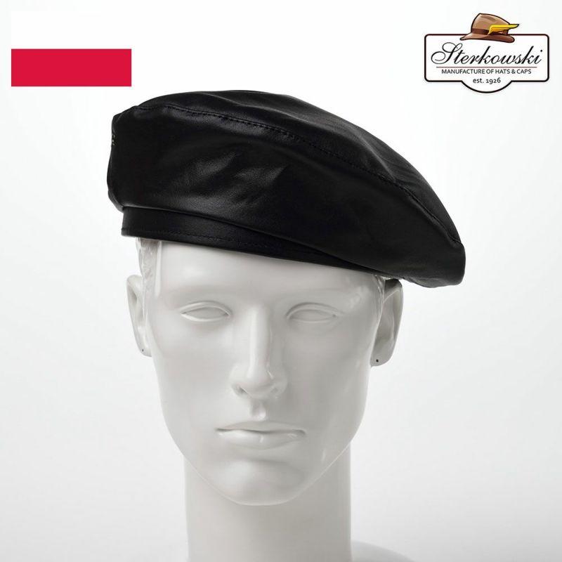 帽子 ベレー帽 Sterkowski(ステルコフスキー) Rebel Leather Beret(リベルレザー ベレー)ブラック