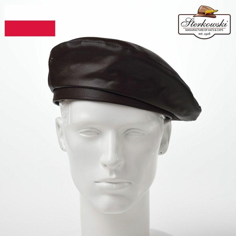 帽子 ベレー帽 Sterkowski(ステルコフスキー) Rebel Leather Beret(リベルレザー ベレー)ブラウン