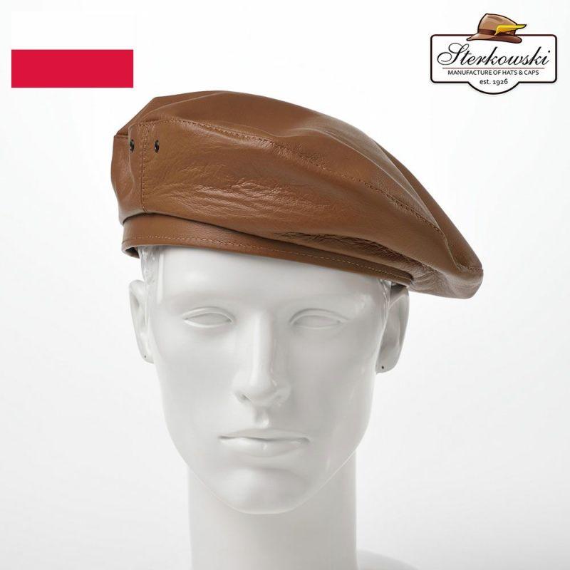帽子 ベレー帽 Sterkowski(ステルコフスキー) Rebel Leather Beret(リベルレザー ベレー)コニャック