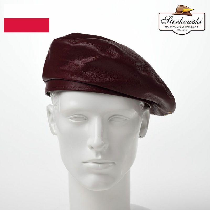 帽子 ベレー帽 Sterkowski(ステルコフスキー) Rebel Leather Beret(リベルレザー ベレー)バーガンディ