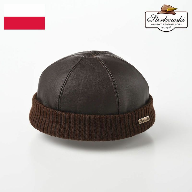 帽子 ロールキャップ Sterkowski(ステルコフスキー) Leather beanie cap(レザービーニーキャップ)ブラウン