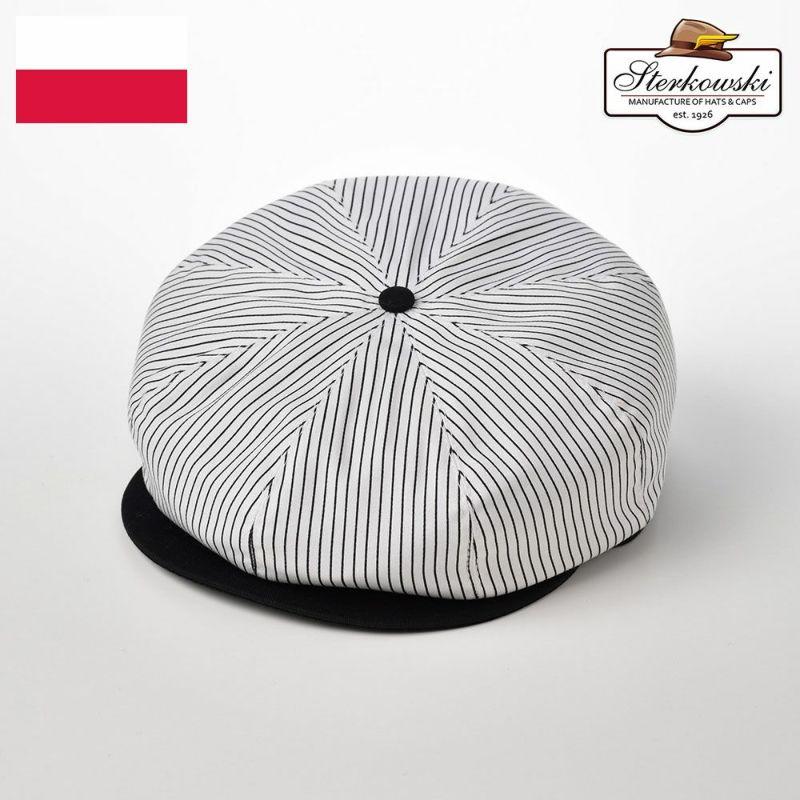 帽子 キャスケット Sterkowski(ステルコフスキー) Shelby Cotton(シェルビー コットン)ホワイトブラック