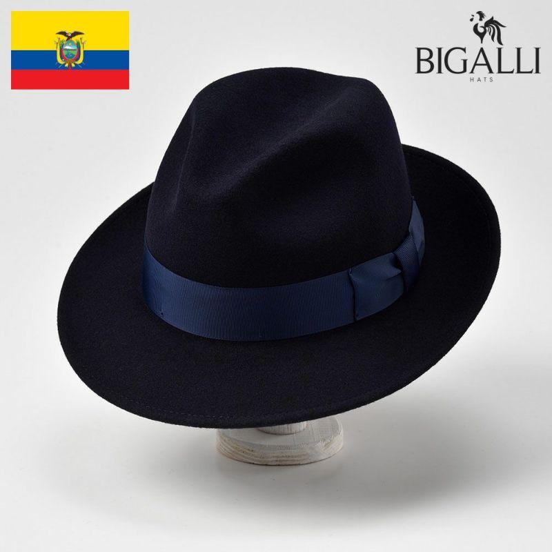 帽子 フェルトハット BIGALLI(ビガリ) PASODOBLE(パソドブレ)ネイビー