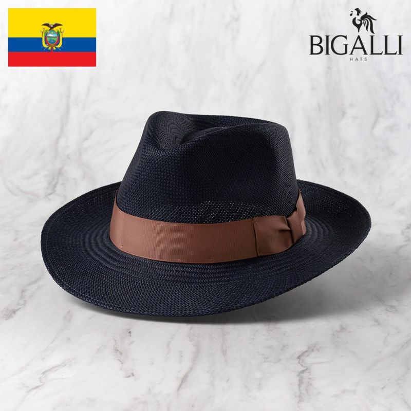 帽子 パナマハット BIGALLI(ビガリ) SANTORINI(サントリーニ)ネイビー