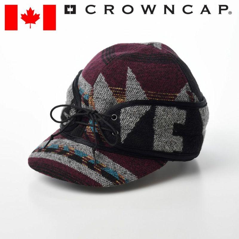 帽子 キャップ CROWNCAP(クラウンキャップ) Casual Railroad Cap(カジュアル レールロードキャップ)バーガンディミックス