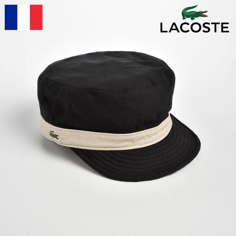 帽子 キャップ LACOSTE(ラコステ) REVERSIBLE DE GAULLE CAP(リバーシブル ドゴールキャップ)L3534 ブラック