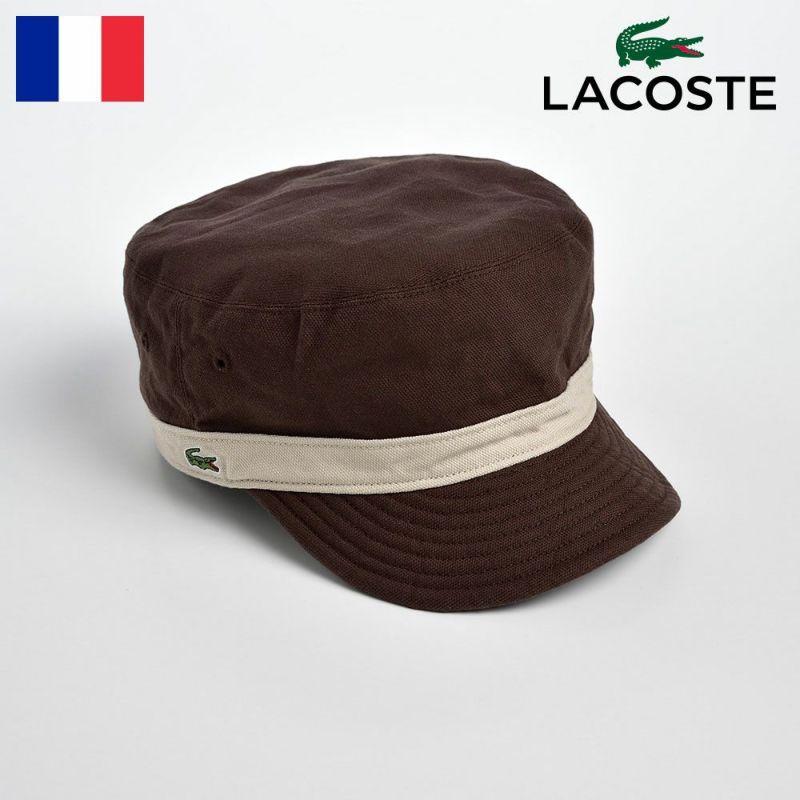 帽子 キャップ LACOSTE(ラコステ) REVERSIBLE DE GAULLE CAP(リバーシブル ドゴールキャップ)L3534 ブラウン
