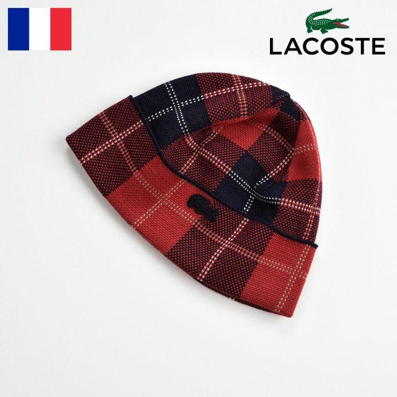 帽子 ニット LACOSTE(ラコステ) TARTAN CHECK KNIT WATCH(タータンチェック ニットワッチ) L7028 レッド
