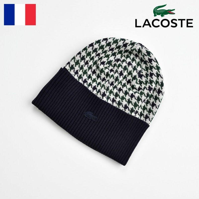 帽子 ニット LACOSTE(ラコステ) 千鳥格子 ニットワッチ L7056 ネイビー