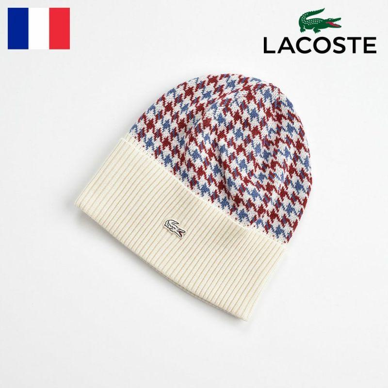 帽子 ニット LACOSTE(ラコステ) 千鳥格子 ニットワッチ L7056 オフホワイト