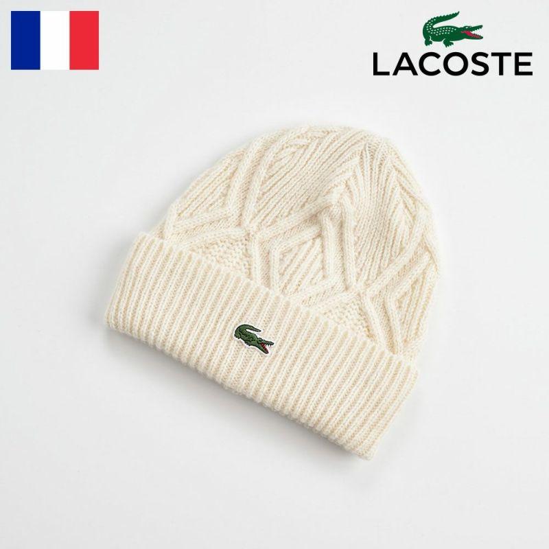 帽子 ニット LACOSTE(ラコステ) CABLE KNIT WATCH(ケーブルニットワッチ) L1119 オフホワイト