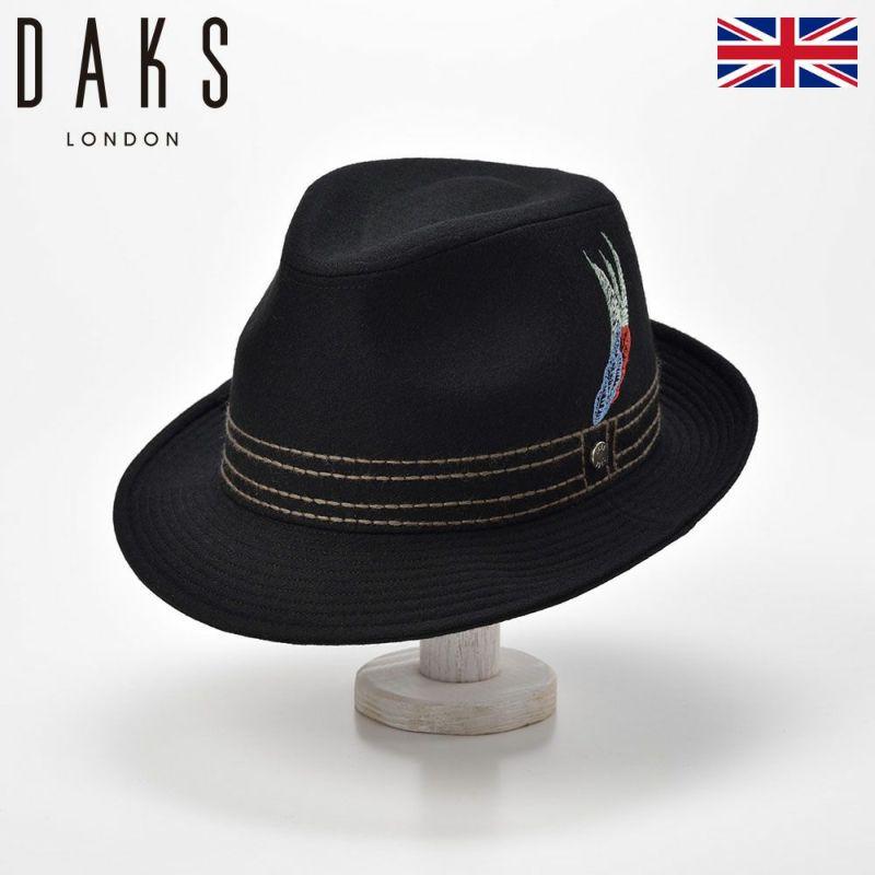 帽子 ハット DAKS(ダックス) New Lescaut Feather Embroidery(ニューレスコー フェザーエンブロイダリー) D0008 ブラック