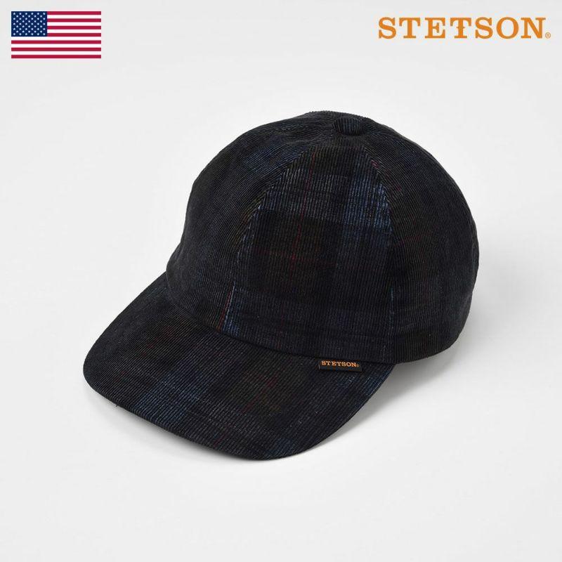 帽子 キャップ STETSON(ステットソン) CHECK CORDUROY CAP(チェックコーデュロイキャップ)SE491 ネイビー