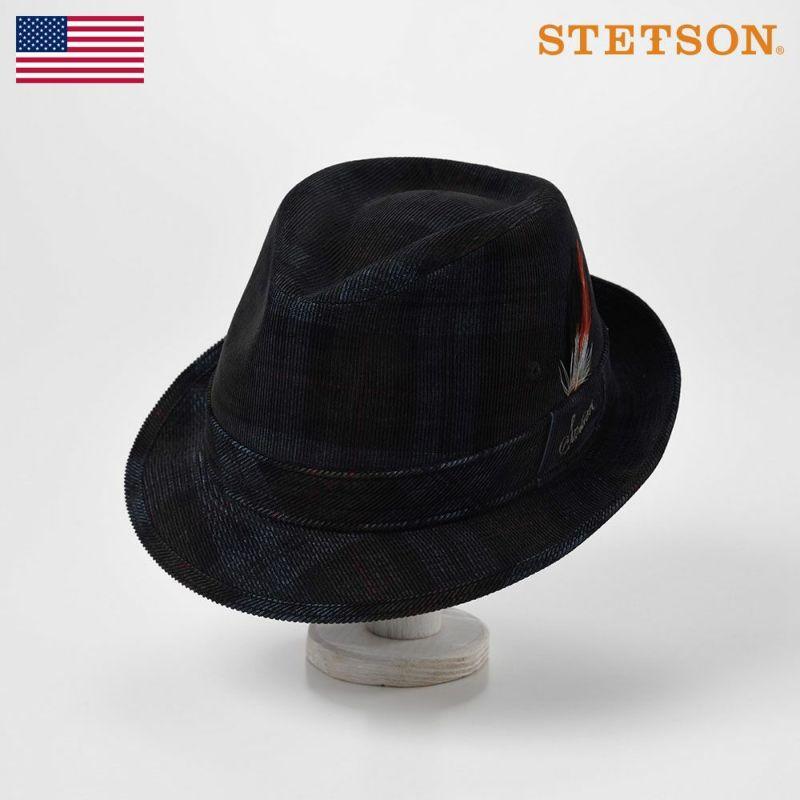 帽子 ソフトハット STETSON(ステットソン) CHECK CORDUROY HAT(チェックコーデュロイハット)SE490 ネイビー