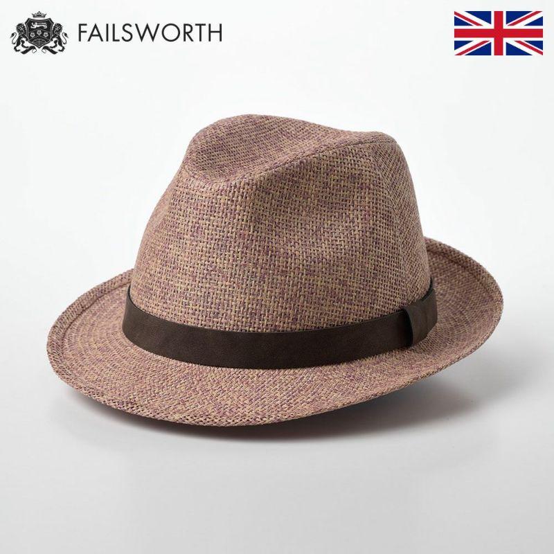 帽子 ストローハット FAILSWORTH(フェイルスワース) Straw Trilby(ストロートリルビー) コーラル