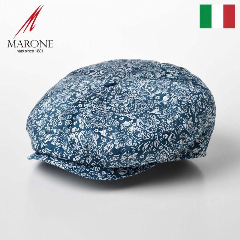 帽子 キャスケット MARONE(マローネ) Bristol Damasco(ブリストル ダマスコ)CT658 ブルー