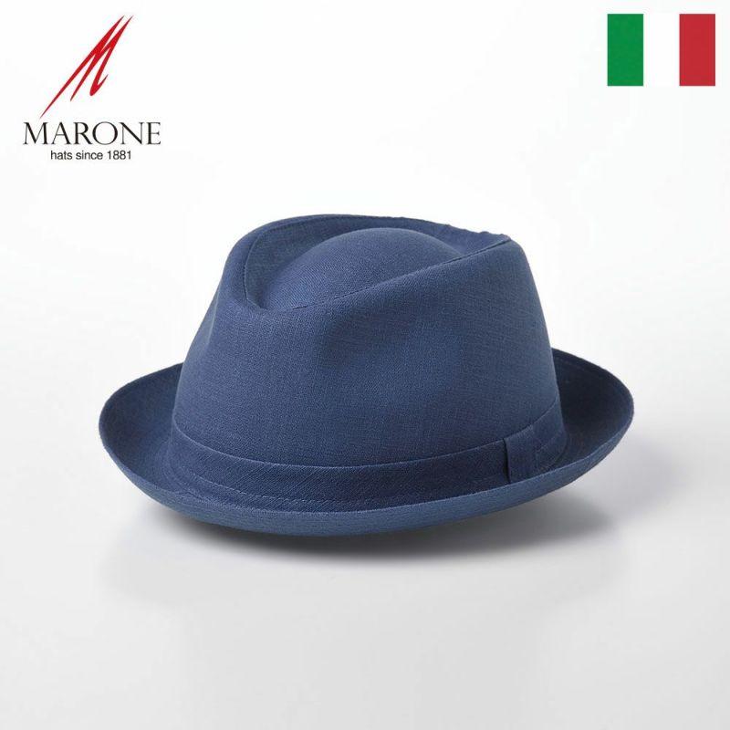 帽子 ソフトハット MARONE(マローネ) Trilby Linen(トリルビー リネン)MT294 ブルー