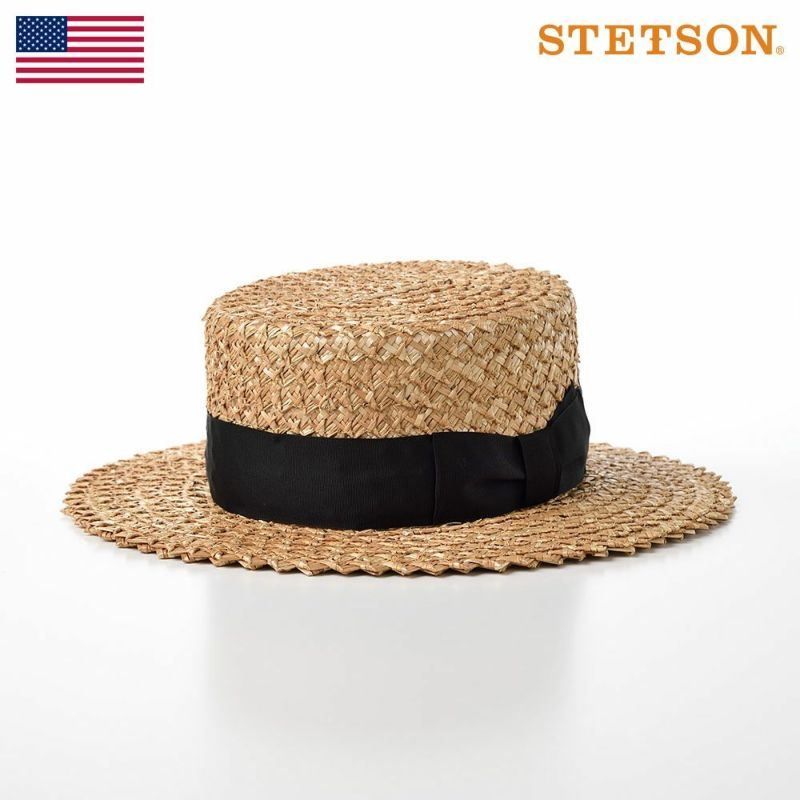 帽子 パナマハット STETSON(ステットソン) 花麦カンカン帽 Saw Braid(ソーブレード)SE599 ナチュラル
