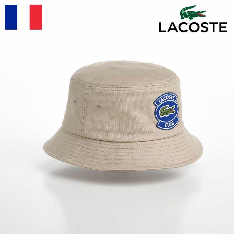 帽子 布帛ソフトハット LACOSTE(ラコステ) CLUB WAPPEN BUCKET HAT(クラブワッペンバケットハット) L1172 ベージュ