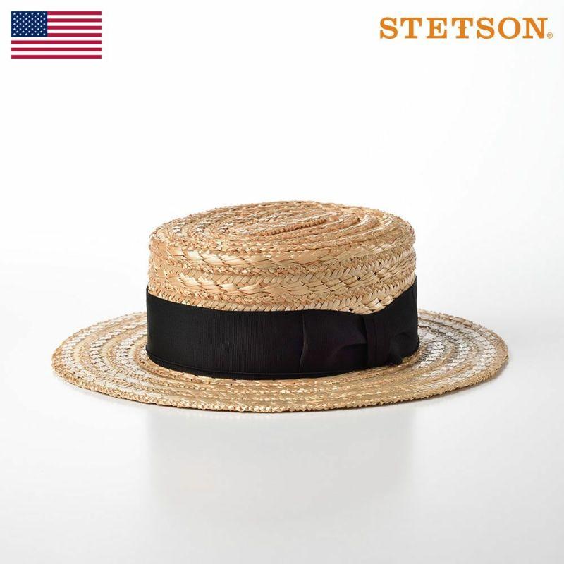 帽子 パナマハット STETSON(ステットソン) 花麦カンカン帽 SE600 ナチュラル