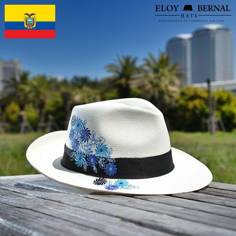 帽子 パナマハット ELOY BERNAL(エロイ ベルナール) FLORACION(フロラシオン)ブルー