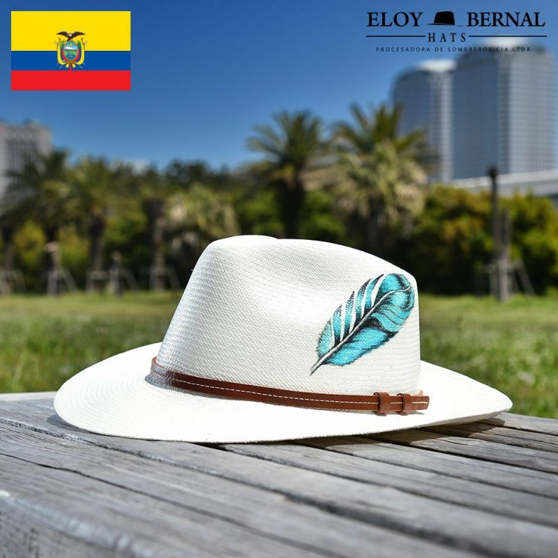 帽子 パナマハット ELOY BERNAL(エロイ ベルナール) FEATHER(フェザー)ホワイト