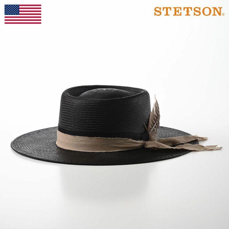 帽子 パナマハット STETSON(ステットソン) PANAMA BIG FEATHER(パナマ ビッグ フェザー)SE585 ブラック